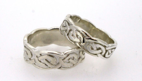 Embossed Celtic Tails Ring Set. Stunning selection of unique Celtic couple rings.