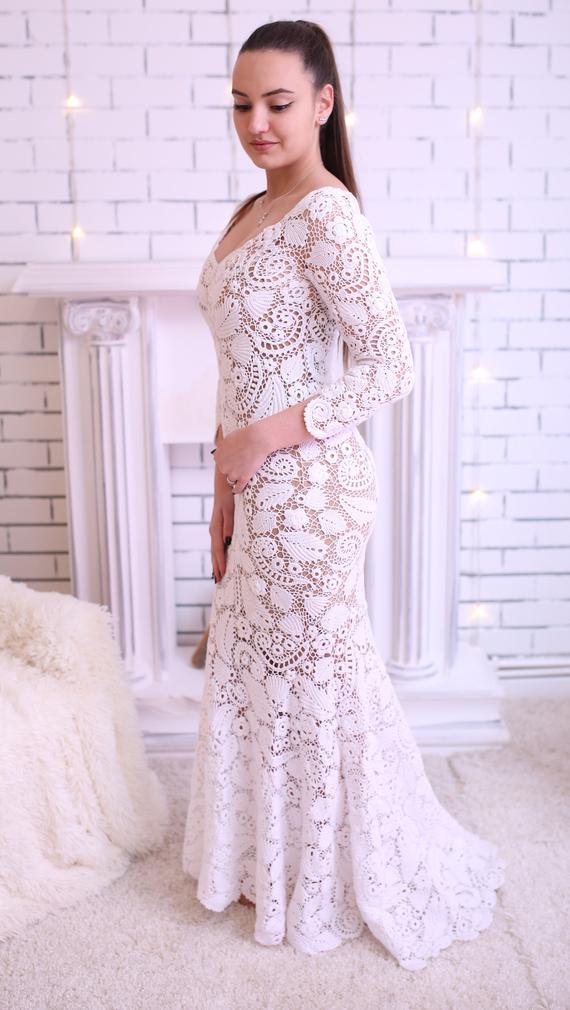 Crochet Wedding Dress.Mermaid Irish Lace Crochet Wedding Dress Relocating To Ireland