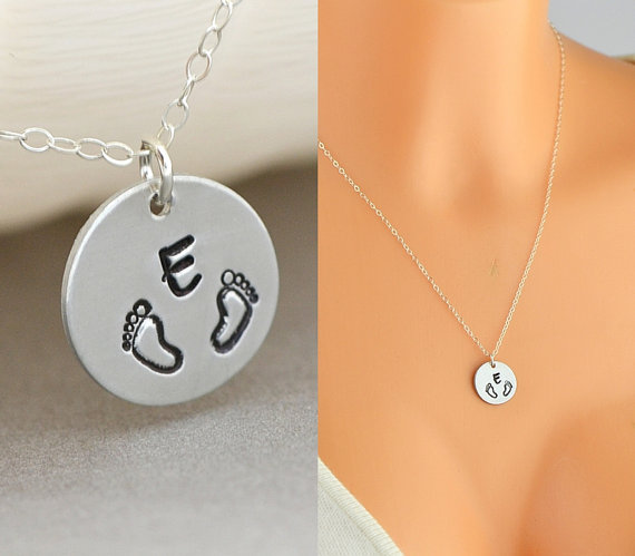 Personalised Baby Feet Necklace for new Mom. Gorgeous Irish made baby gifts. Unique gift ideas for the baby shower, newborn baby, or Christening.