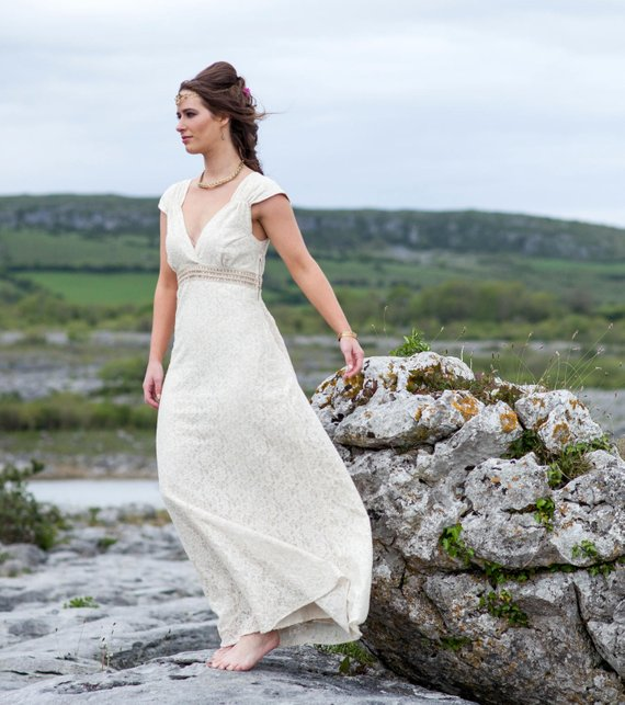 Sleeveless Celtic Irish Lace Wedding Dress
