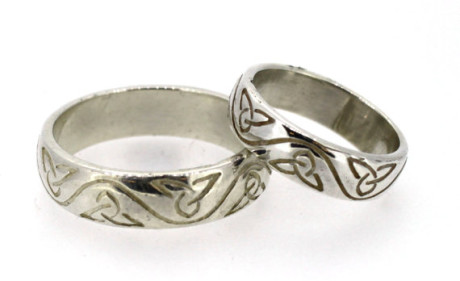 Trinity Knot Wedding Ring Set. Stunning selection of unique Celtic couple rings.