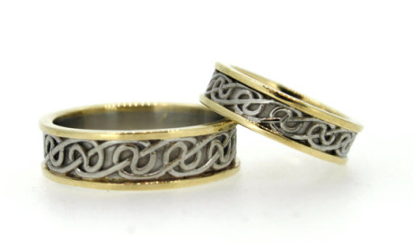 Celtic Lovers Knot Wedding Band Set. Stunning selection of unique Celtic couple rings